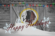 Christmas Greeting Photo Framed Prints - Washington Redskins Framed Print by Joe Hamilton