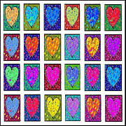 Abstract Hearts Paintings - 24 Hearts in a Box by Dale Moses
