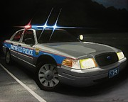 Police Cruiser Painting Prints - 24 Print by Robert VanNieuwenhuyze