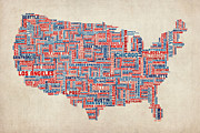 States Map Digital Art - United States Typography Text Map by Michael Tompsett