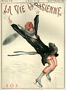 Skating Drawings - 1920s France La Vie Parisienne Magazine by The Advertising Archives