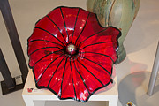 Steel Glass Art - 24in Red Museum Flower by David Hines