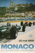City Streets Digital Art Prints - 24th Monaco Grand Prix 1966 Print by Nomad Art And  Design