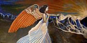 Seraphim Angel Mixed Media - 24x48 Earthbound-Final Cut by Dia T