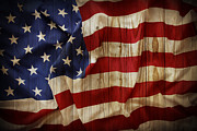 Old Wooden Fence Prints - American flag Print by Les Cunliffe