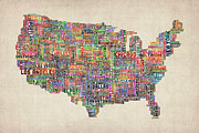 Featured Art - United States Typography Text Map by Michael Tompsett