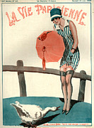 Geese Drawings Posters - 1920s France La Vie Parisienne Magazine Poster by The Advertising Archives