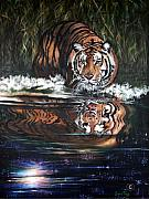 Tigers Paintings - 258  Hope Tiger by Sigrid Tune