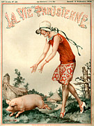 Agriculture Drawings Framed Prints - 1920s France La Vie Parisienne Magazine Framed Print by The Advertising Archives