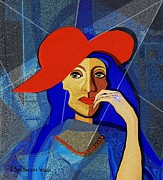 Red Hat Framed Prints - 259 - Lady with a  diamond ring   Framed Print by Irmgard Schoendorf Welch