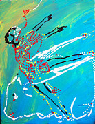 Drawing Pyrography Posters - Dinka Dance - South Sudan Poster by Gloria Ssali