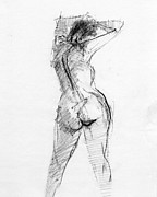Back Drawings - RCNpaintings.com by Chris N Rohrbach