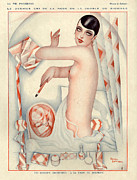 Makeup Drawings Posters - 1920s France La Vie Parisienne Magazine Poster by The Advertising Archives