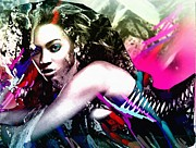 Lavers Framed Prints - Beyonce Knowles Framed Print by Bogdan Floridana Oana