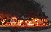 Manger Pyrography Posters - Christmas Lights C.C. Tx.. Poster by James E Hoehne