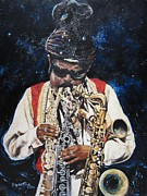 Night Sky Painting Framed Prints - 285  Rahsaan Roland Kirk  Framed Print by Sigrid Tune