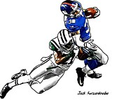 New York Jets Prints - 288 Print by Jack Kurzenknabe