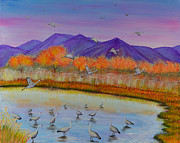Serenity Paintings - 29 Cranes by Elizabeth Golden