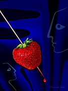 Strawberry Digital Art Prints - 291 The stabbed strawberry Print by Irmgard Schoendorf Welch