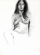 Woman Drawings Metal Prints - RCNpaintings.com Metal Print by Chris N Rohrbach