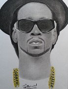 Signed Prints Drawings - 2chains Charcoal by Lance  Freeman