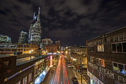 Nashville Tennessee Framed Prints - 2nd Ave and Broadway Framed Print by CJ Schmit