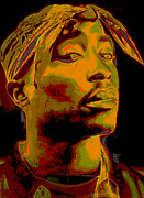 Grey Digital Art Framed Prints - 2pac  Framed Print by Byron Fli Walker