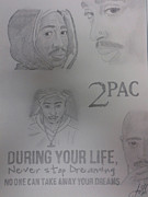 Ambition Drawings Prints - 2Pac Print by Joanna Gutierrez