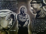 Superstar Drawings Posters - 2pac Tribute Poster by Larry Silver