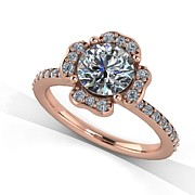 Platinum Jewelry - 14K Rose Gold Diamond Ring with Moissanite Center Stone by Eternity Collection