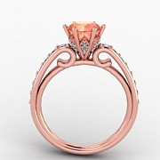 Platinum Jewelry - 14K Rose Gold Diamond Ring with Morganite Center Stone by Eternity Collection
