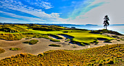 Us Open Posters - #15 at Chambers Bay Golf Course - Location of the 2015 U.S. Open Tournament Poster by David Patterson