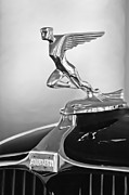 Black And White Photos Prints - 1932 Auburn 12-160 Speedster Hood Ornament Print by Jill Reger