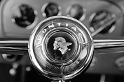 Steering Framed Prints - 1933 Pontiac Steering Wheel Emblem Framed Print by Jill Reger