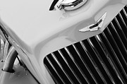 Beach Photographs Prints - 1939 Aston Martin 15-98 Abbey Coachworks SWB Sports Grille Emblem Print by Jill Reger