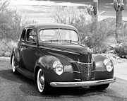 Grey Prints - 1940 Ford Deluxe Coupe Print by Jill Reger