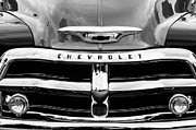 White Chevy Photos - 1955 Chevrolet 3100 Pickup Truck Grille Emblem by Jill Reger