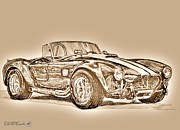 Motors Mixed Media Framed Prints - 1965 Shelby AC Cobra Framed Print by J McCombie