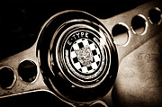 Jaguar E Type Photos - 1967 Jaguar E-Type Series I 4.2 Roadster Steering Wheel Emblem by Jill Reger
