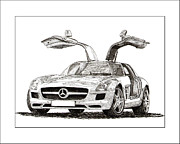 Net Drawings Prints - 2010 Mercedes Benz SLS Gull-Wing Print by Jack Pumphrey