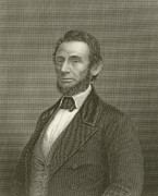 Abraham Lincoln Drawings - Abraham Lincoln by English School
