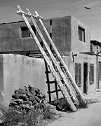 Black And White Digital Art Posters - Acoma Pueblo Adobe Homes Poster by Mike McGlothlen