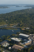 Husky Posters - Aerial view of the new Husky stadium Poster by Jim Corwin