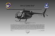 Night Stalkers Posters - AH-6J Little Bird Poster by Arthur Eggers