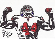 Player Drawings Posters - Ahmad Bradshaw Poster by Jeremiah Colley