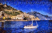 Amalfi Paintings - Amalfi town in Italy by George Atsametakis