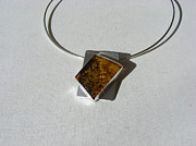 Yellow Jewelry - Amber pendant by Barbara Jacquin