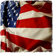 Backgrounds Posters - American flag Poster by Les Cunliffe