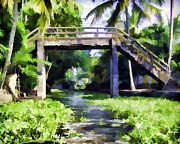 Greenery Prints - An old stone bridge over a canal Print by Ashish Agarwal