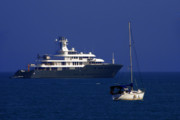 Yacht Prints - Antibes - Superyachts of Billionaires Print by Christine Till